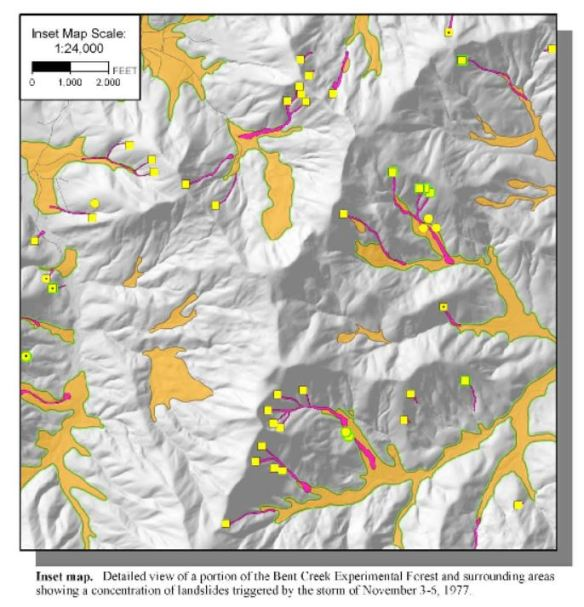 Excerpt from Buncombe County Slope Movement & Slope Movement Deposits Map