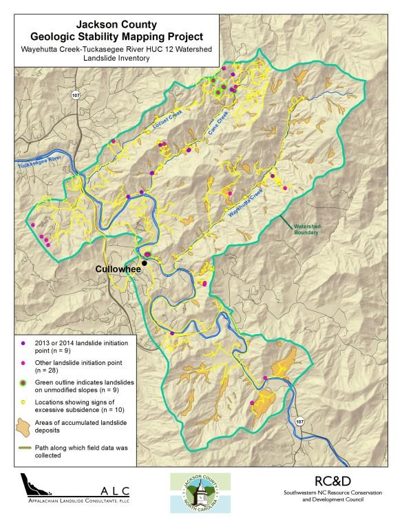 Wayehutta Creek Watershed Geologic Stability Map