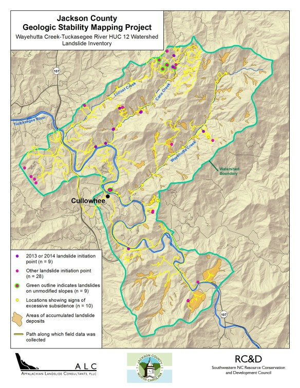 Wayehutta Creek Watershed Geologic Stability Map
